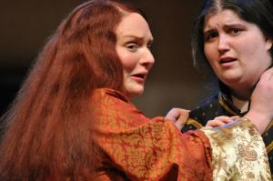 "Mary Burnett and Leandra Lynn as ""Gertrude"" and ""Hamlet"" in ""Hamlet"""