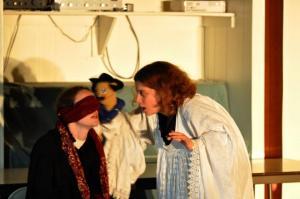 "Christine Boyce and Arielle Seidman as ""Malvolio"" and ""Feste"" in ""Twelfth Night"""