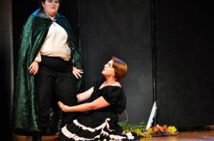"Leandra Lynn and Rachael Dickson as ""Demetrius"" and ""Helena"" in ""A Midsummer Night's Dream"""